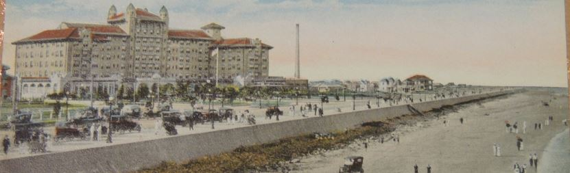 old time drawing of a seawall between the ocean and hotel galvez