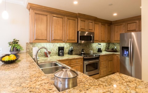 hotel marble kitchen counters with double sink