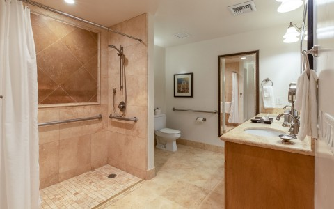 hotel suite shower with ADA accessibilities