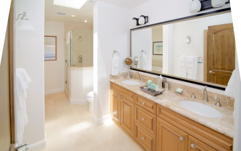 master bathroom with double sinks and shower on the other side of the wall