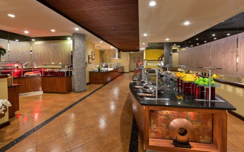 Restaurant with buffet style set up and tile floors