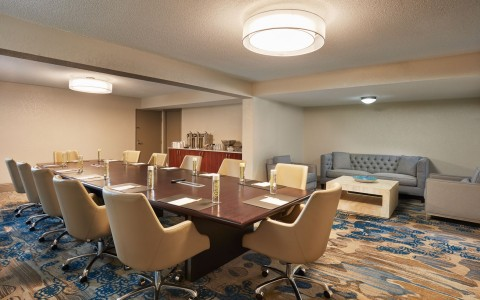 boardroom at classroom set up in a ballroom at Doubletree By Hilton Orlando Seaworld