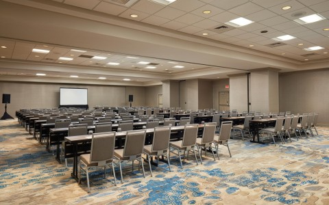 classroom set up in a ballroom at Doubletree By Hilton Orlando Seaworld