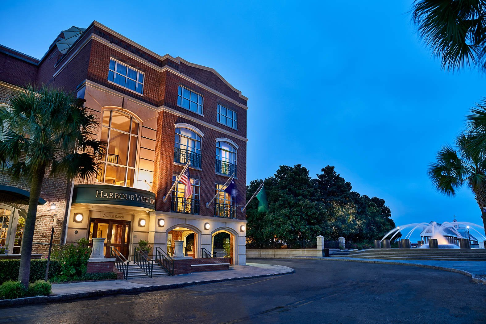 Hotel Entrance Lit Up At Night Charleston Smost Intimatewaterfront Retreat