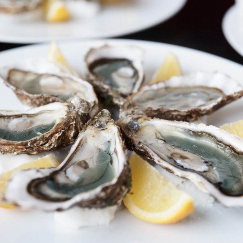 oysters on plate with lemon wedges