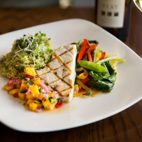 Grilled fish, mixed vegetables & pico