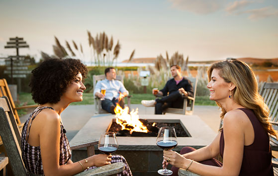 Two women & two men talking around outdoor fire pit while drinking wine