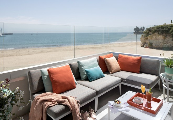 sectional couch on balcony with ocean views