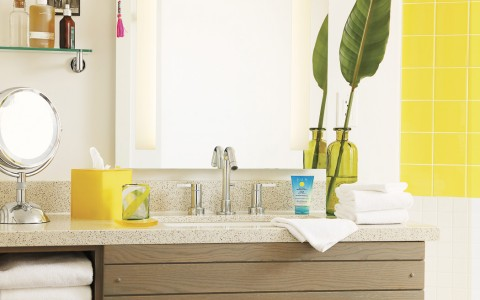 bathroom vanity with bright colored accents
