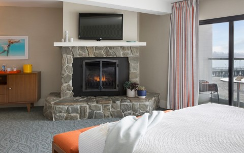 fireplace in guest room