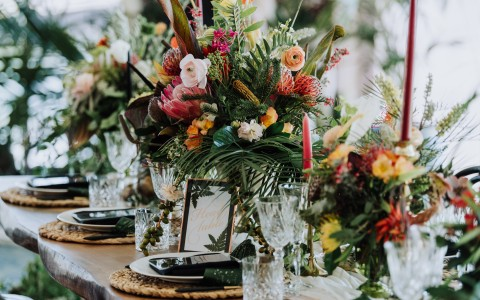 flower arrangements on table