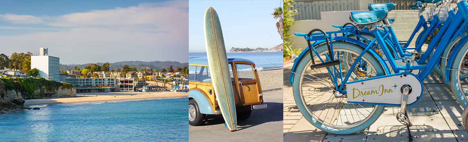 Stitched image of Santa Cruz beach, surfboard on car, and Dream Inn bikes