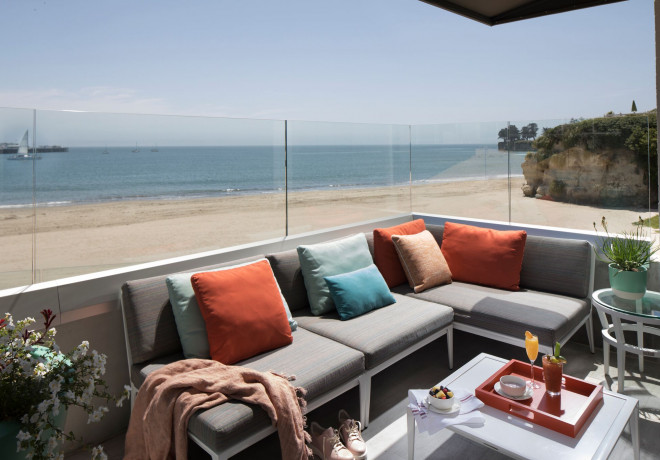 sectional couch room with beach view on the outdoor patio