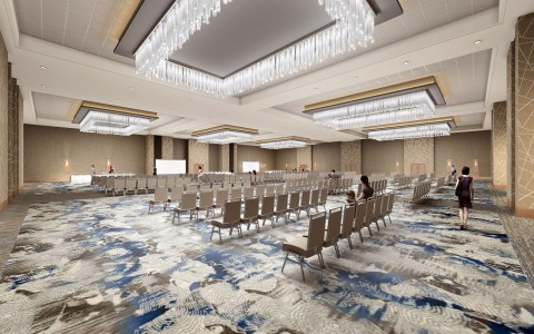 New ballroom rendering with rows of chairs