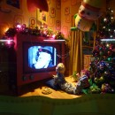 Child Watching TV Christmas WIndow Display