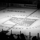 New York Rangers Center Ice in Black and White