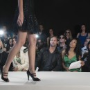 Runway model legs on the white runway