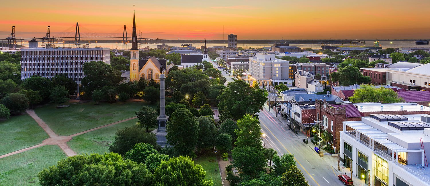 sunset aerial view of charleston