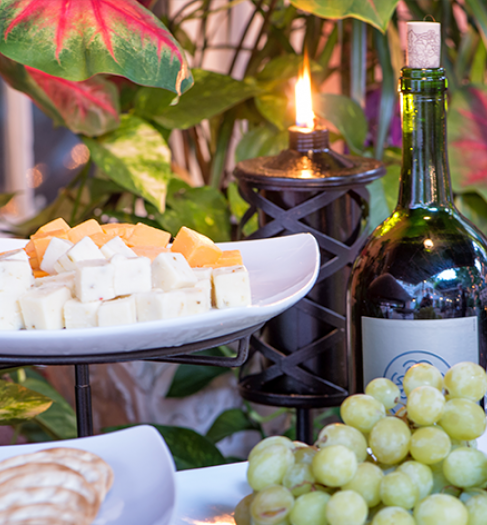 wine, cheese, crackers, and grapes