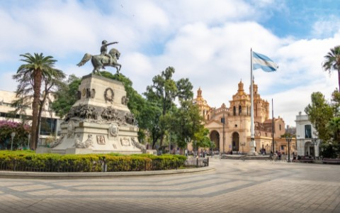 san martin square and cordoba cathedral argentina