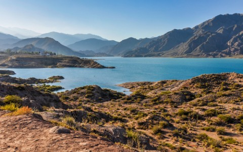 view of the potrerillos dam in mendoza argentina