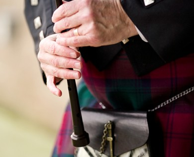irish man wearing a kilt