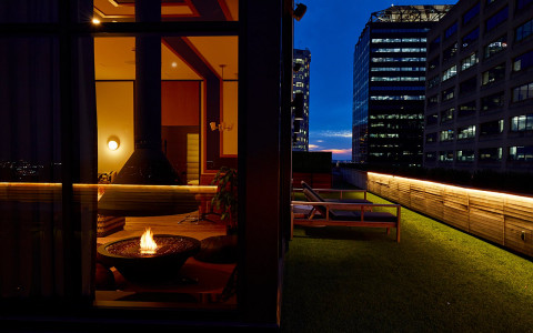 outside grass patio with skyline view