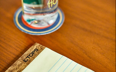 notepad with fairlane water bottle