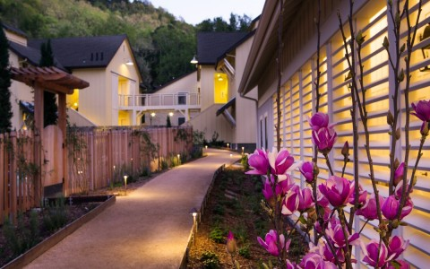 Property walk way with wooden fences & pink flowers