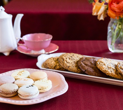 cookies and macaroons on table with flowers-1