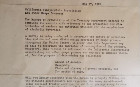 prohibition letter from 1929