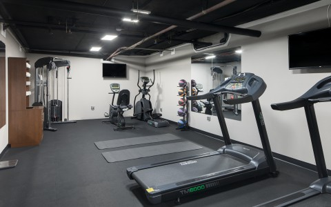 fitness center with treadmills, yoga maters, elliptical, bike, cross train cable wait and weighted medicine balls.