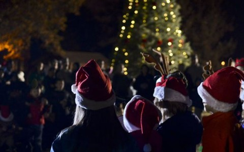Christmas Carolers in front of a tree