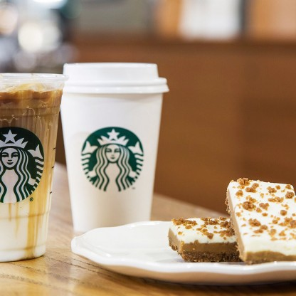 Starbucks drinks and pastries on a table