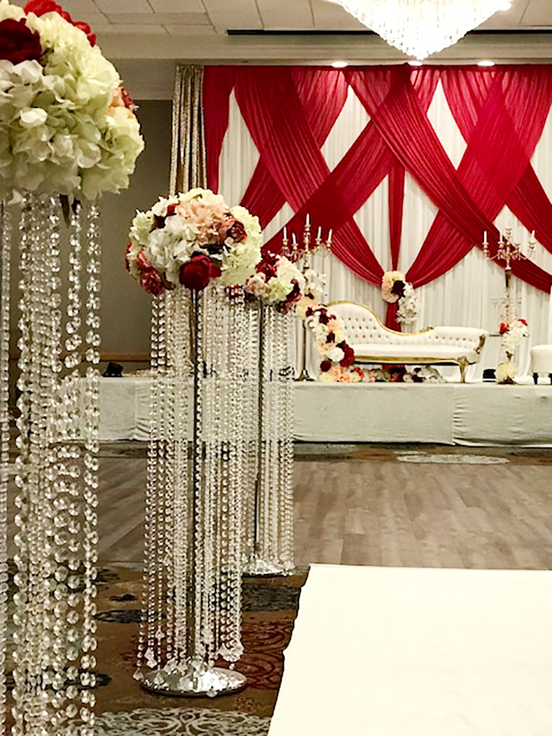 extravagant hanging flowers decoration with crystals hanging down
