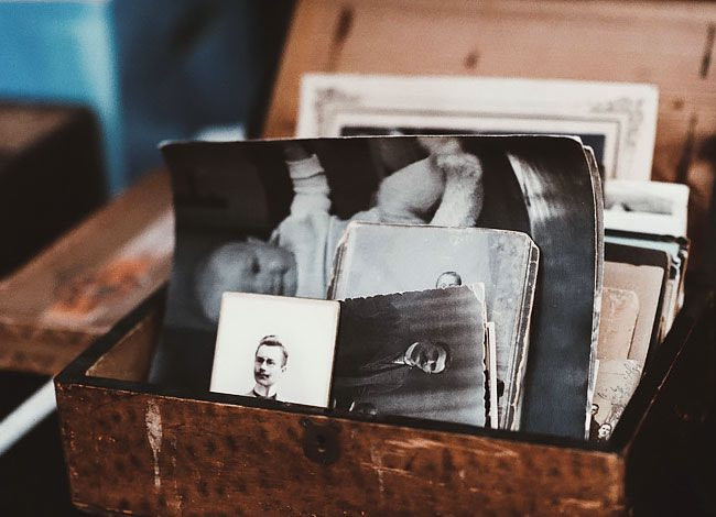 old images in wooden box