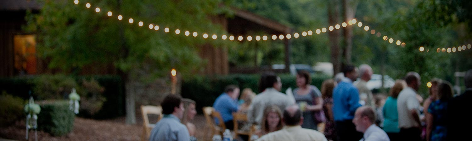 Blurred image of group of people at outdoor wedding reception with stringed lightbulbs