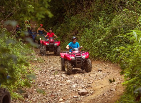 group of people riding red tractors in the woods
