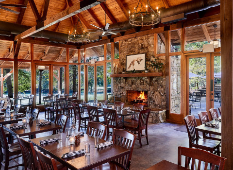 wooden even venue with fireplace