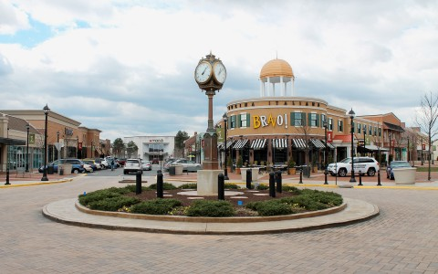 Spotsylvania Towne Centre with tall clock tower