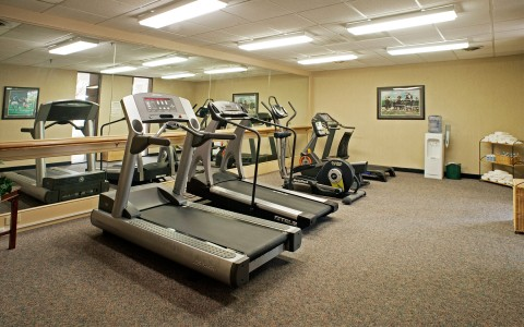 Gym with two treadmills and two other cardio machines in front of a large mirror