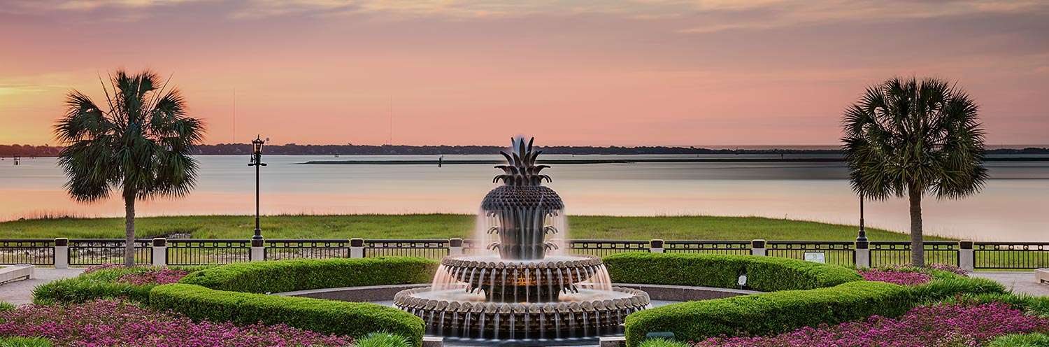 Beautiful landscaping and fountain at sunset