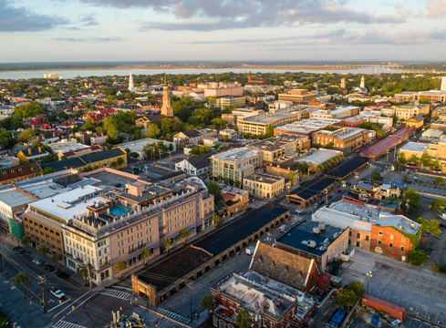 aerial shot of charleston