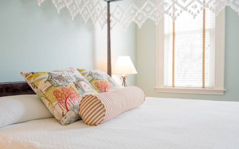 Close up of patterned pillows on king bed with white sheets