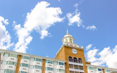 exterior of garden city hotel's clocktower