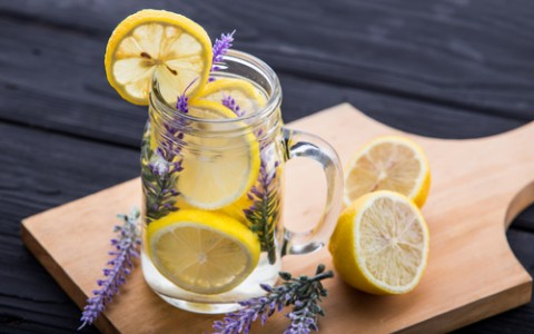 lemon and lavender infused spa water