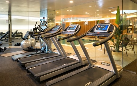 Treadmills inside hotel gym
