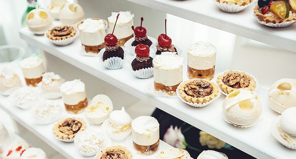 display of a variety of gourmet pastries