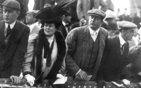 Alva Belmont Vanderbilt and Other Spectators at the Vanderbilt Cup Race of Mineola New York in 1905