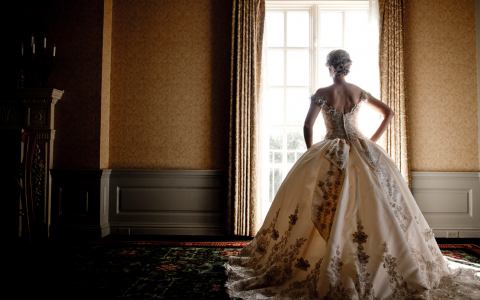 Bride in gown with elegant embroidery standing by window